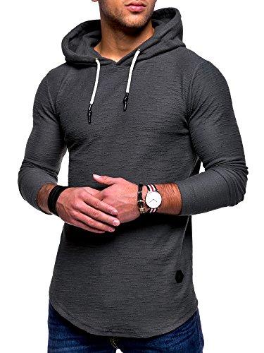MT Styles Herren Oversize Hoodie Pullover Kapuzenpullover MT-7420 [Dunkelgrau, M]