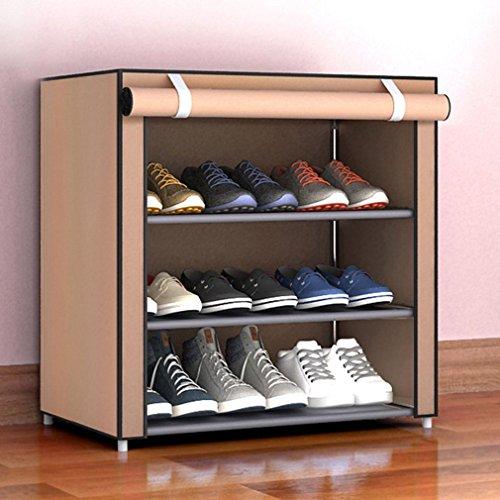 Staubdicht große Größe Vlies Schuhe Rack Schuhe Veranstalter Hause Schlafzimmer Schlafsaal Schuhregale Regal Schrank, Kaffee, 4 Schichten 3 Gitter