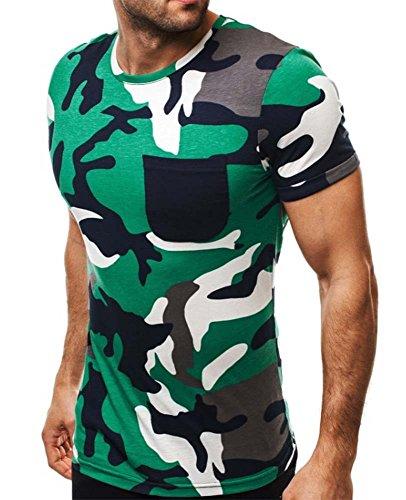 Mode Persönlichkeit Camouflage Herren Casual Slim Kurzarm-Shirt (T-shirt Herz Camo Frauen)