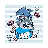 Cassisy 1,5x1,5m Vinile Foto da Sfondo HEY Dude Fumetto Baby Shark Denti affilati Stripes Wallpaper Fondali Fotografia Partito Bambini Photo Studio Puntelli Photo Booth