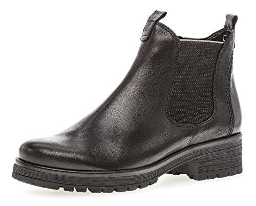 Gabor Damen Chelsea Boots 92.091,Frauen Stiefel,Halbstiefel,Stiefelette,Bootie,Schlupfstiefel,hoch,Blockabsatz 2.5cm,Einlegesohle,G Weite (Normal),schwarz (Micro),UK 5 - Jersey Gefütterte Hose