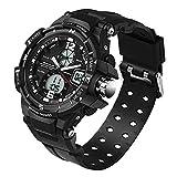 SANDA Herren Sportuhr Dual-Display 50M Wasserdicht Multifunktion Elektronisch Uhren LED Beleuchtung Timer Wecker Stoppuhr Armbanduhr(Schwarz)