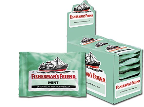 Fishermans Friend Pastillen (Fisherman's Friend Mint | Karton mit 24 Beuteln | Minze und Menthol Geschmack | Mit Zucker | Für frischen Atem)