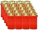 Lote de 20 velas votivas o funerarias (12 cm), color rojo