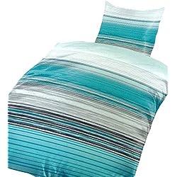 Leonado Vicenti 4 TLG. / 2x2 TLG. Bettwäsche Thermofleece 135x200 cm Streifen türkis weiß grau anthrazit gestreift wärmendes Set mit Reißverschluss im Doppelpack