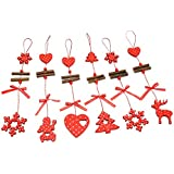Phenovo 12PCS/set Christmas Snowman Deer Xmas Tree Hanging Ornament Xmas Decoration