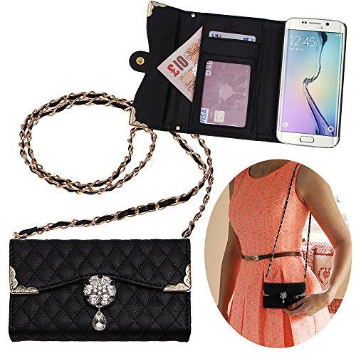 Xtra-Funky Exklusiv Samsung Galaxy S6 Edge Luxus-Kunstleder gesteppte Handtasche Stil Gehäuse mit Trageschlaufe und schön dekoriert Kristall Blume - Schwarz (Enthält ein Mini Stylus und LCD-Schirm-Schutz-Film) (Mini-handtasche Gesteppte)
