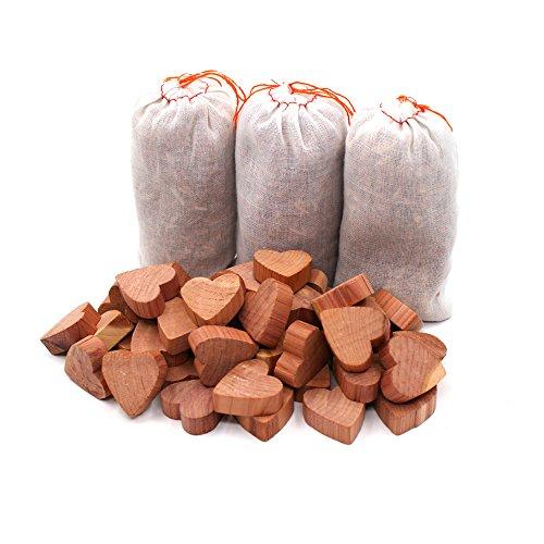 Yizhet Legno di Cedro Combo Pack antitarme Naturale 3 Bonus bustine 50 Blocchi di Cedro Forma di Cuoreper armadi e cassetti