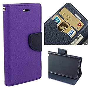 Aart Fancy Diary Card Wallet Flip Case Back Cover For Mircomax A210 - (Purple) by Aart Store