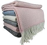 STTS International Wohndecke Wolldecke Decke Kuscheldecke Sehr Weiches Plaid Roma (140 x 200 cm, Rosa-Weiß)