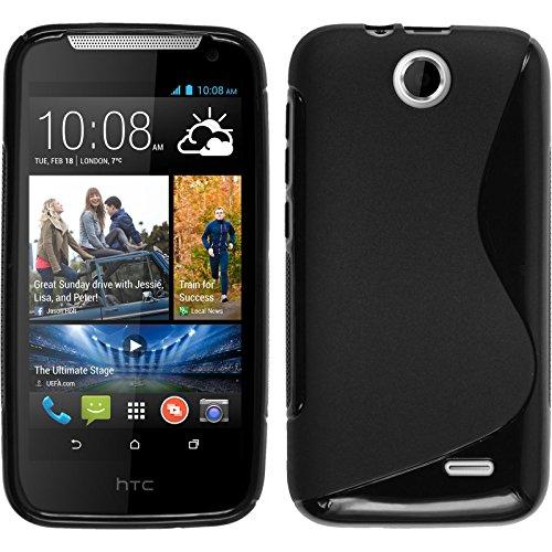PhoneNatic Coque en Silicone Compatible avec HTC Desire 310 - S-Style Noir - Cover Cubierta + Films de Protection