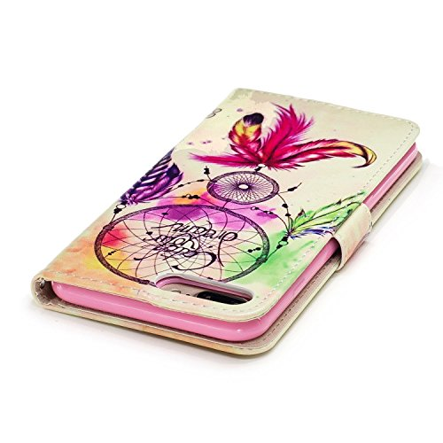 Linvei Hülle für Apple iPhone 7 Plus(5.5 Zoll) -Blumen muster Design/ TPU Silikon Backcover Case Handy Schutzhülle -Pflaumenblütenentwurf Vintages buntes Traumfänger Muster