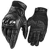 INBIKE Motorradhandschuhe Herren Damen Motorrad handschuhe Männer Ziegenhaut Atmungsaktivität Knöchelschutz Aufprallschutz für Motorrad Radfahren Camping Outdoor Schwarz L (IM808)