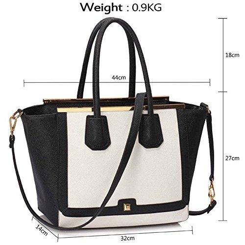 TrendStar De haute qualité sac fourre-tout design en faux cuir des femmes à la mode avec une longue sangle. Noir/Blanche