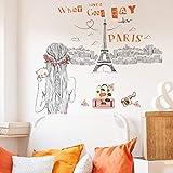 Dalxsh Wandaufkleber3D ParisHauptdekorFür Kinder Zimmer Verglichen Verglichen Gato60X90Cm