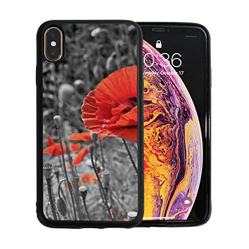 WOCNEMP Rot und schwarz schneidende Blumen Apple Telefon Xs Max Fall Displayschutzfolie TPU Hard Cover mit dünnem stoßfestem Stoßfänger Schutzhülle für Apple Apple Telefon Xs Max 6,5 Zoll -