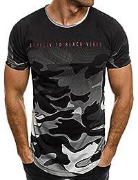 Yvelands Liquidación Cartas de Camuflaje de los Hombres de la Personalidad Súper Moda Camiseta de Manga Corta Casual Camisa de Blusa de Top Sport