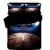 Ajun 3D Basketball Druck Bettbezüge Polyester Baumwolle Schlafzimmer Doppel Bettwäsche Geburtstag Geschenk mit Kissenbezüge 3 Stücke, B, 200Cmx230Cm