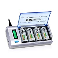 EBL 906 Universal LCD Battery Charger and Discharger with 4 Pack High Capacity 10000mAh Ni-MH D Rechargeable Batteries