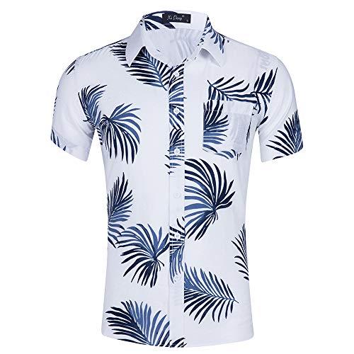Kuson Urlaub Strand Hawaiihemd Shirt Freizeithemd Kurzarm mit modischem Druck (XXL, Weiß)