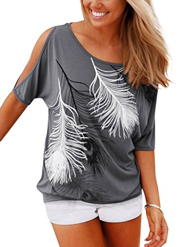 YOINS Bluse Damen Kurzarm Schulterfrei Oberteil Tops Damen Sommer Carmen Shirt Blumenmuster Feder-Grau EU46