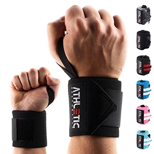 Handgelenkbandage [2er Set] in 45cm / 60cm Länge + Grundübungs Guide - Wrist Wraps fürs Krafttraining, Bodybuilding, Crossfit und Fitness - Handgelenkbandagen für Frauen und Männer geeignet - ATHLETIC AESTHETICS (45 cm Schwarz)