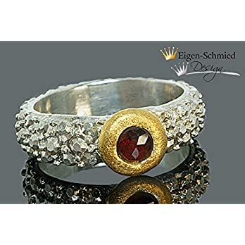 """Goldschmiede Silberring""""frosted"""", Silberschmuck handmade, Ring Damen, Verlobungsring, 925 Sterling Silber, massiv, Goldschmiedearbeit, Schmuck"""
