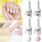 elite99 Nagellack Semi-Permanent French Maniküre weiß rose- UV Gel Nail Art Tip mit Ratgeber 10 ml
