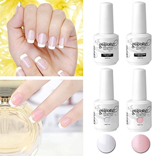 Elite99 French Nägel Design Nagellack, Nagellack UV Set, Weiß & Rosa Gellack, Überlack Unterlack, Frenchnägel Maniküre, UV Gel Nail Polish 15 ml * 4 French Tip Guide -