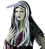 KarnevalsTeufel Perücke Hexe schwarz mit nachtleuchtenden Strähnen Langhaarperücke Universalgröße