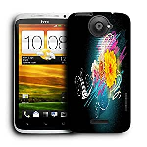 Snoogg Abstract Floral Printed Protective Phone Back Case Cover For HTC One X