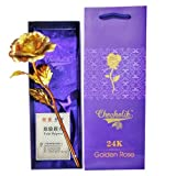#8: Everbuy 24K Golden Rose 10 INCHES With Gift Box - Best Gift For Loves Ones, Valentine's Day, Mother's Day, Anniversary, Birthday