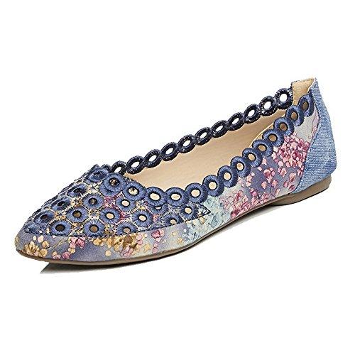 VogueZone009 Femme Tire Non Talon En Tissu Imprimé Animal Pointu Chaussures à Plat Bleu