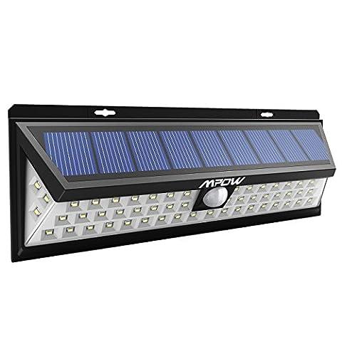[54 LED] Mpow Lampe solaire extérieure Etanche 1188 lumens Luminaire exterieur/ Eclairage exterieur 270 ° Grand Angle reglable avec détecteur de mouvement et Paneau Solaire pour Pati, jardin, cour, chemin,escaliers, clôture