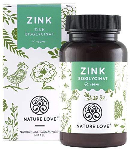 NATURE LOVE® Zink - 25mg, 365 Tabletten im Jahresvorrat. Hoch bioverfügbares Zink-Bisglycinat (Zink Chelat). Laborgeprüft, ohne unerwünschte Zusätze. Hochdosiert, vegan, hergestellt in Deutschland