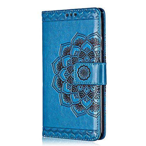 Sony Xperia XZ/XZs Hülle, Bear Village® Leder Flip Hülle Weich Silikon Back Case Brieftasche Handyhülle mit Magnetverschluss und Standfunktion für Sony Xperia XZ/XZs (#6 Blau) Blau Back Case