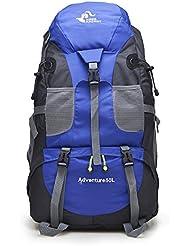 Montañismo bolsa 50L outdoor hombres y mujeres hombro mochila Nylon senderismo paquete impermeable alpinismo bolsas, naranja