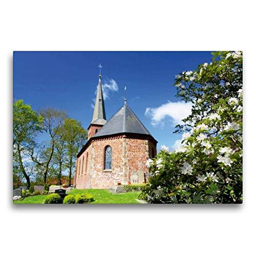 Calvendo Premium Textil-Leinwand 75 cm x 50 cm quer, St.-Marcellinus- und Petrus-Kirche zu Waddens   Wandbild, Bild auf Keilrahmen, Fertigbild auf echter Frühjahr in Butjadingen Natur Natur