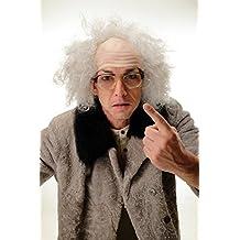 WIG ME UP ® - 3893-P68A Peluca caballero hombre Halloween Carnaval abuelo viejo científico loco profesor Einstein gris media calva