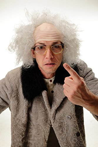 -8 Perücke Halbglatze Herren Karneval Halloween Alter Opa Verrückter Professor Wissenschaftler Einstein Kauz grau (Glatze Perücke Mit Haar)