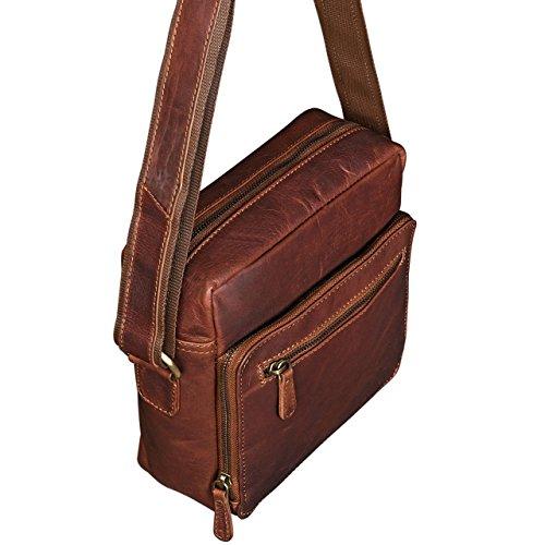 STILORD Nathan Borsello da Uomo a tracolla in pelle Piccola borsa messenger in Cuoio a Spalla per Viaggi Escursioni, Colore:cognac marrone scuro cognac marrone scuro
