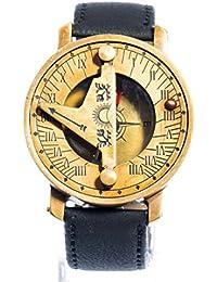 0ccb0274269 Montre Boussole Bracelet en Cuir Noir à Cadran Solaire doré Vintage  Steampunk