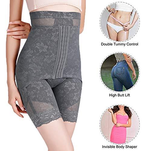 Damen Figurenformend Miederpants Einstellbar Miederhose Shapewear Bauch-Weg-Effekt Formt Sofort Nahtlose Body Shaper Mit Hoch Taille,Grau,M - 3