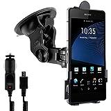 Support pour pare-brise pour Sony Xperia Z2 avec coque adaptée + chargeur - Utilisez vous aussi votre portable comme GPS!