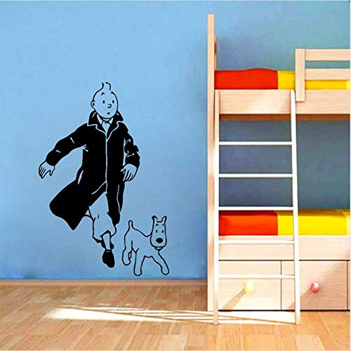 r Tim und EIN Hund Cartoon Vinyl Wandaufkleber Kinderzimmer Wandkunst Applique Tim und Struppi Vinyl Poster Wandkunst Dekoration 84X56Cm ()