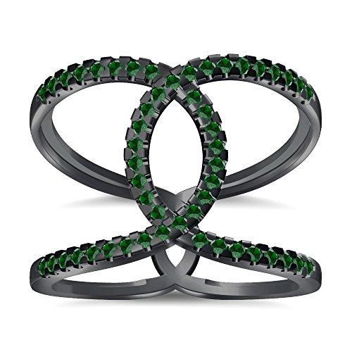 Silvernshine Halo Twist Green Garnet CZ Diamonds Engagement Ring 14k Black Gold PL Bridal Ring