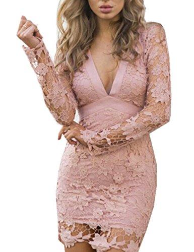 YOGLY Spitze Rückenfrei Tief V-Ausschnitt Lange Ärmel Sexy Damen Kleid Kurz Kleid Elegant Sommer Strandkleid Dress Abend Kleider Cocktailkleid Partykleid Rosa