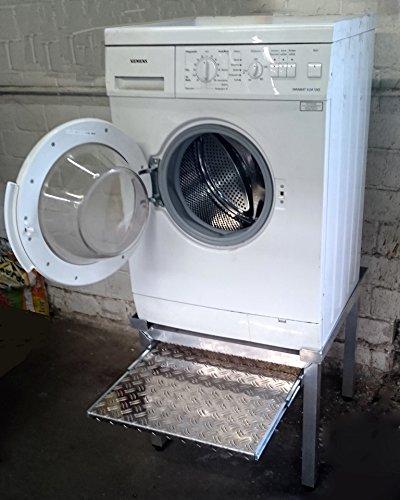 Premium Waschmaschinen Untergestell Mara 1 Premium 700 mit 1 Teleskop-Auszug für Wäschekörbe / 70 cm hoch / Verstärkte Aluminium - Ausführung / Teleskop-Auszüge rappelfrei / / rostfrei / Unterbau für 1 Maschine Trockner oder Waschmaschine /