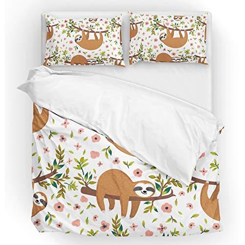 Jeansame Bettwäsche-Set, Bettdeckenbezug und Kissenbezug, Faultiere, tropisches Blumenmuster, für Kinder, Jungen, Mädchen, Damen, Herren, Mehrfarbig, Einzelbett