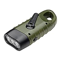 Powerfull Flashlight, Aolvo Emergency Flashlight Hand Crank Solar Powered Rechargeable LED Torch with Solar Panel Quick Snap Carabiner for Outdoor Camping Hiking Climbing Fishing